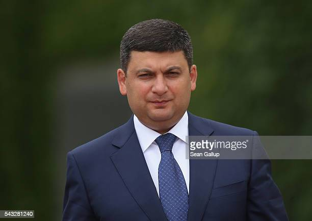 Ukrainian Prime Minister Volodymyr Groysman arrives at the Chancellery to meet with German Chancellor Angela Merkel on June 27 2016 in Berlin Germany...
