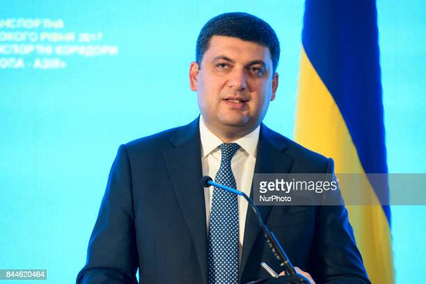 Ukrainian Prime Minister Volodymyr Groysman attend a conference dedicated to transport issues in Odesa Ukraine September 8 2017