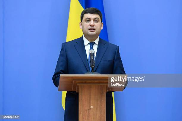 Ukrainian Prime Minister Volodymyr Groysman during a meeting of government heads of the GUAM Organization for Democracy and Economic Development...