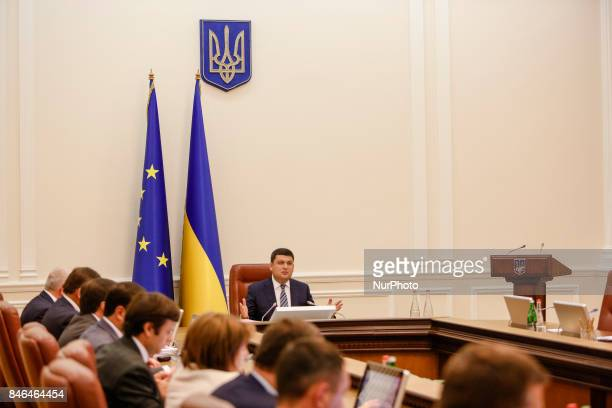 Ukrainian Prime Minister Volodymyr Groysman during the Ukrainian government gathered for its session in Kiev Ukraine on September 13 2017