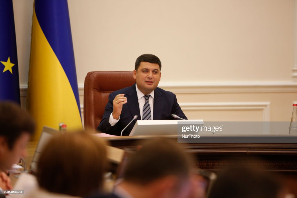 Ukrainian Prime Minister Volodymyr Groysman during the Ukrainian government gathered for its session in Kiev, Ukraine on September 13, 2017.