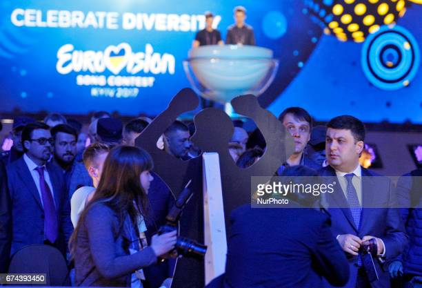 Ukrainian Prime Minister Volodymyr Groysman inspects the preparations for the Eurovision Song Contest inside the International Exhibition Center in...