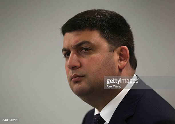 Ukrainian Prime Minister Volodymyr Groysman speaks during an event at the National Press Club June 16 2016 in Washington DC Groysman discussed the...