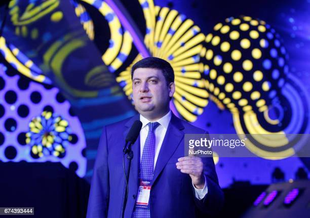 Ukrainian Prime Minister Volodymyr Groysman speaks with media as he inspects the preparations for the Eurovision Song Contest inside the...