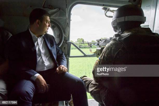 Ukrainian Prime Minister Volodymyr Groysman travels by a military helicopter to Donetsk region Ukraine June 1 2017
