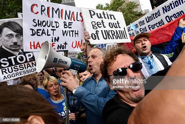 Ukrainian protestors rally against Russian President Vladimir Putin outside United Nations Headquarters on September 28 2015 in New York City World...