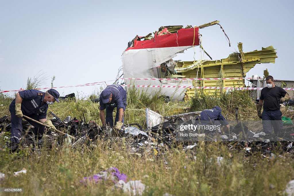 298 Crew And Passengers Perish On Flight MH17 After Suspected Missile Attack In Ukraine : News Photo