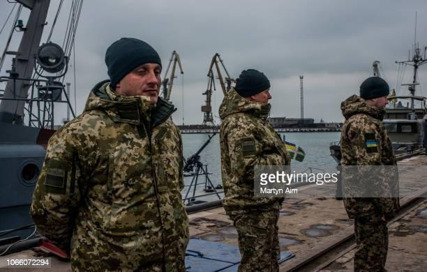 Ukrainian sea border security force officers mobilise on the Azov Sea on November 28 2018 in Mariupol Ukraine Ukrainain President Poroshenko has...