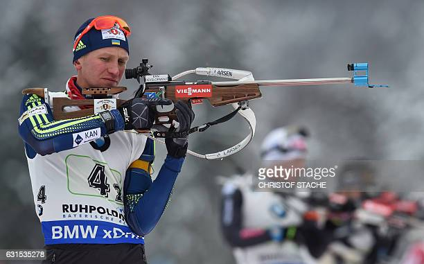 Ukrainian Sergey Semenov pictured during the warm up shooting prior men 4 x 75 km relay at the Biathlon World Cup on January 11 in Ruhpolding...