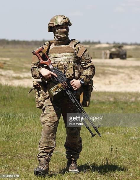 "Ukrainian serviceman at a military training ground ""Desna"", in the Chernigov region, Ukraine, on 11 May, 2015. Ukrainian president Petro..."