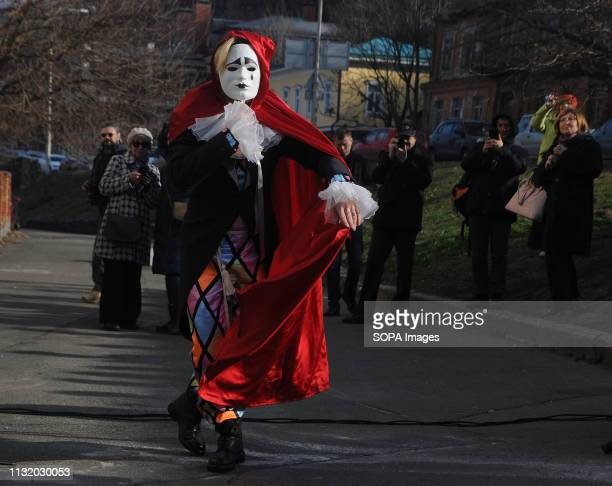 Ukrainian singer Andrei Kravchuk seen performing during the opening A monument to the entertainer film actor composer poet and singer Alexander...