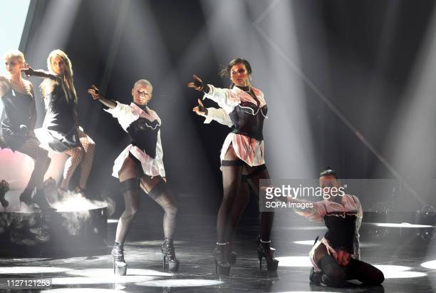Ukrainian singer MARUV is seen performing the Siren Song song during the 2019 Eurovision Song Contest national selection final in Kiev Ukraine...