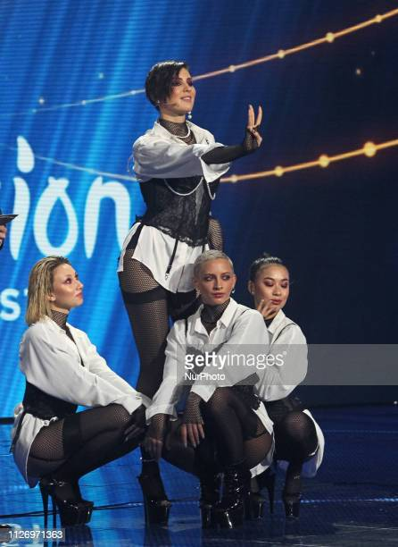 Ukrainian singer MARUV performs on a stage during the 2019 Eurovision Song Contest national selection show orginized by STB and UA TV channels in...