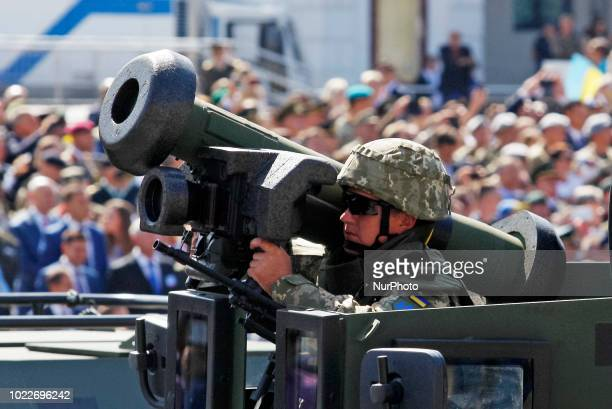 Ukrainian soldier holds a Javelin, US Portable Anti-Tank Missile, as he takes part in the military parade in Kiev, Ukraine, 22 August, 2018....