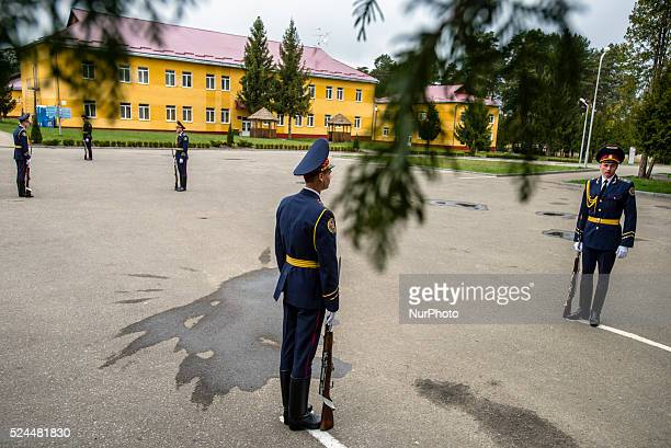 Ukrainian soldiers during opening ceremony UkrainianUS Exercise Fearless Guardian at International peacekeeping and security centre Yavoriv Lviv...
