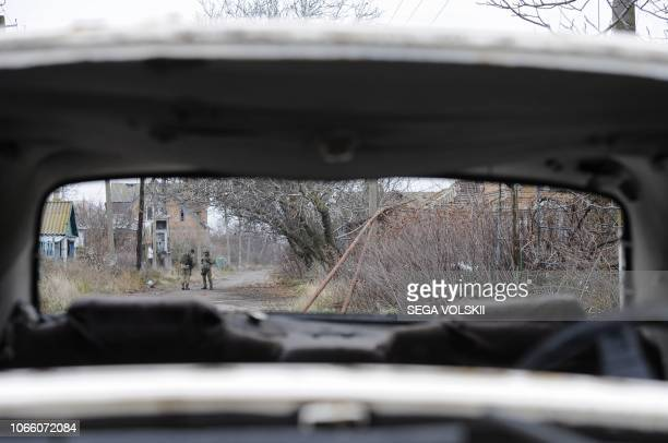 Ukrainian soldiers patrol in the front line with Russiabacked separatists in the small city of Shyrokyne 25 km from Azov Sea port of Mariupol on...