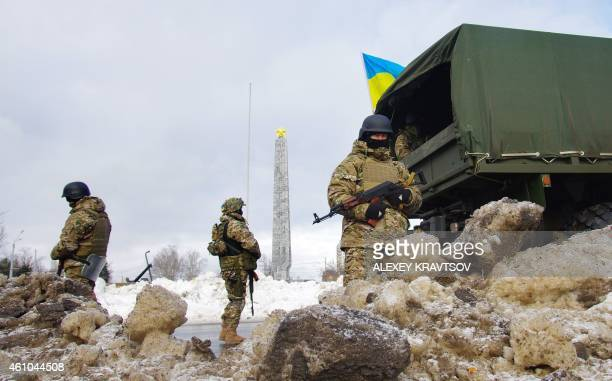 Ukrainian special troops guard in the southern Ukrainian city of Odessa during the anti-terrorists operation on January 5, 2015. Ukrainian police...