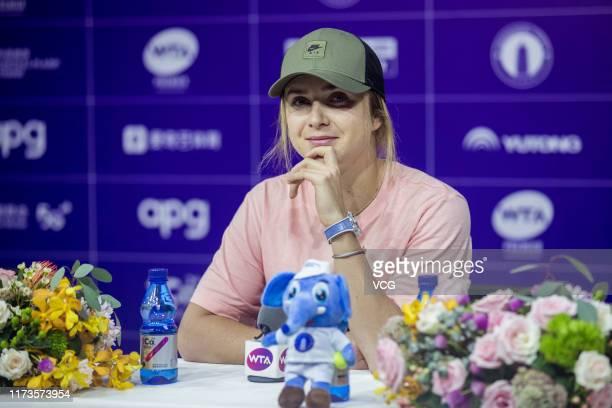 Ukrainian tennis player Elina Svitolina attends a press conference on day two of the Zhengzhou Open 2019 on September 10, 2019 in Zhengzhou, Henan...