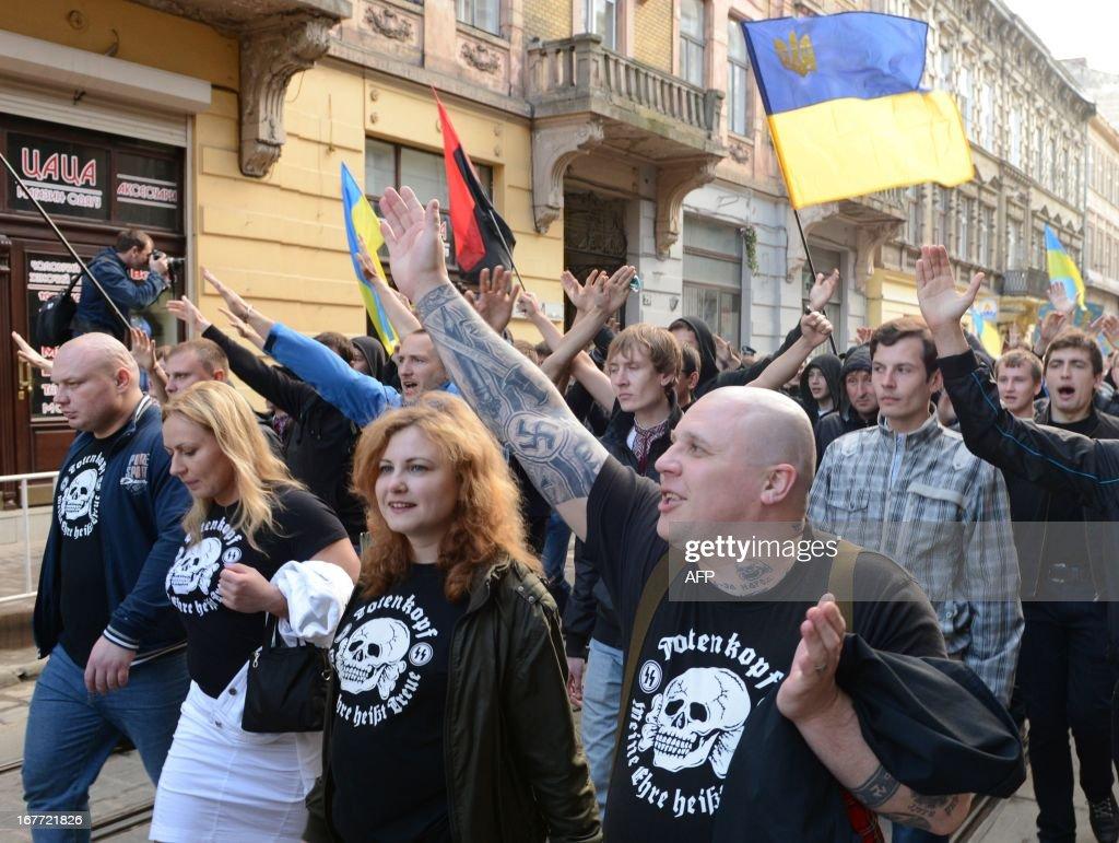 UKRAINE-HISTORY-GALICIA-NEO-NAZIS-MARCH : News Photo