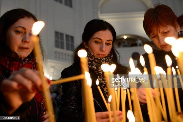 Ukrainians attend the Palm Sunday blessing at the Greek Catholic in Warsaw Poland on April 1 2018 The Palm Sunday blessing is attended largely by...