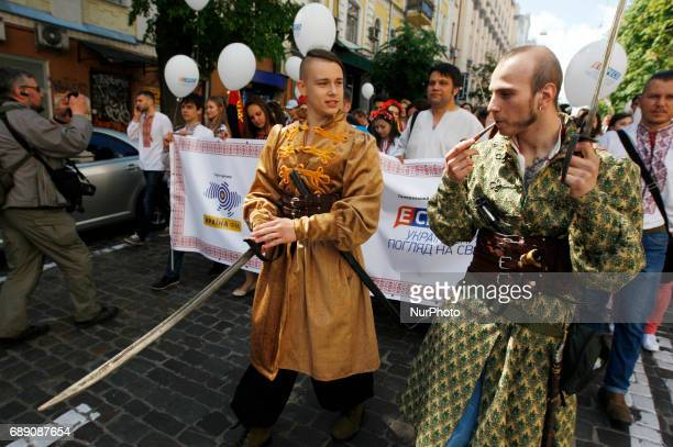 Ukrainians wearing traditional Ukrainian embroidered blouses called quotVyshyvankaquot take part in the quotVyshyvankas Marchquot in downtown Kiev...