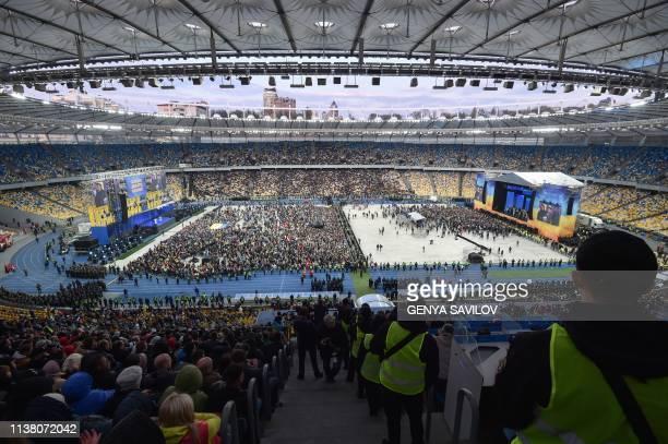 Ukraininan President and presidential candidate Petro Porosheko and his rival comedian Volodymyr Zelensky debate at Kiev's Olympic Stadium on on...