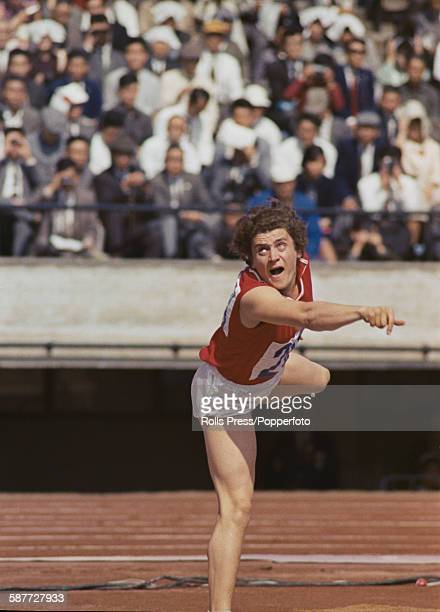 Ukranian and Soviet athlete Irina Press takes part in the shot put event on the first day of the women's pentathlon competition at the 1964 Summer...