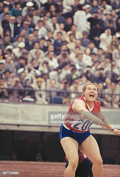 Ukranian and Soviet athlete Tamara Press takes part in the women's shot put competition at the 1964 Summer Olympics in Tokyo Japan on 20th October...