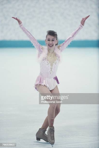 Ukranian figure skater Oksana Baiul of the Ukraine team pictured during competition to finish in first place to win the gold medal in the Women's...