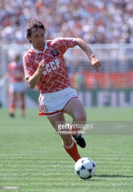 Ukranian footballer Oleh Protasov makes a run with the ball during play for the Soviet Union team in the UEFA Euro 1988 European football...