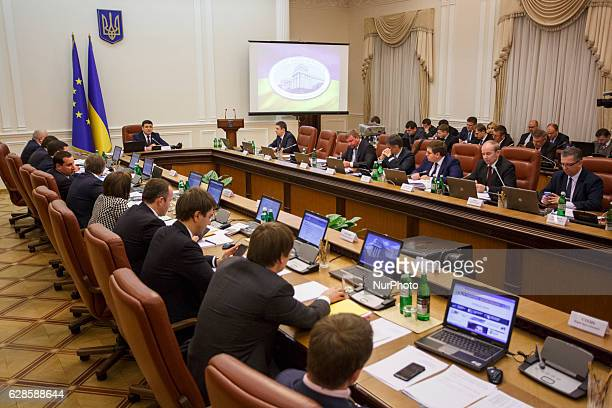 Ukranian Prime Minister Volodymyr Groysman during a meeting of the Government of Ukraine in Kyiv Ukraine on December 7 2016