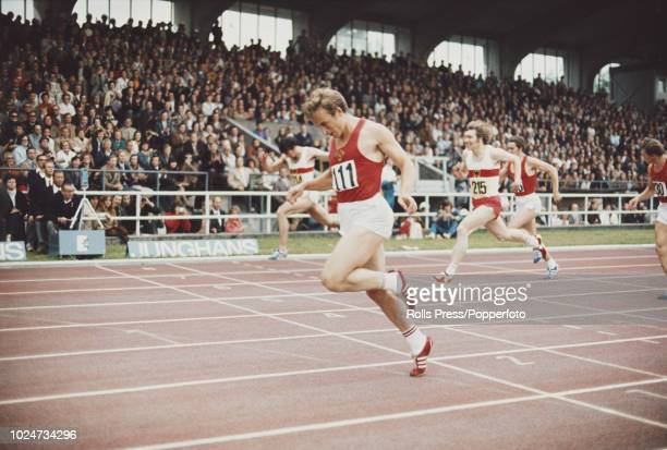 Ukranian sprinter Valeriy Borzov of the Soviet Union crosses the finish line in first place to win the Men's 200 metres event at a West Germany v...