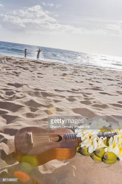 Ukulele on beach with Hispanic couple in background