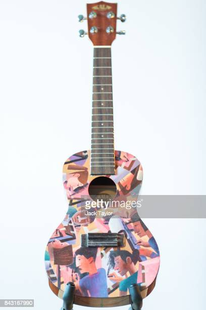 A ukulele painted by artist Michael Kirkbride is pictured at Shoreditch House ahead of it being featured in the Art on a Ukulele fundraiser concert...