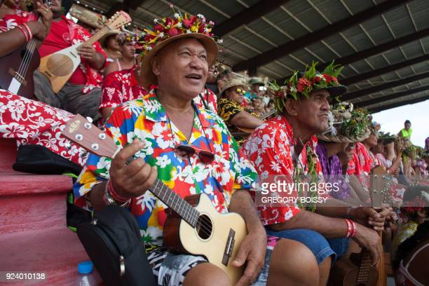 Ukulele players attend the record breaking attempt of the largest ukulele ensemble in Papeete on February 24 2018 Tahiti failed to reclaim its...