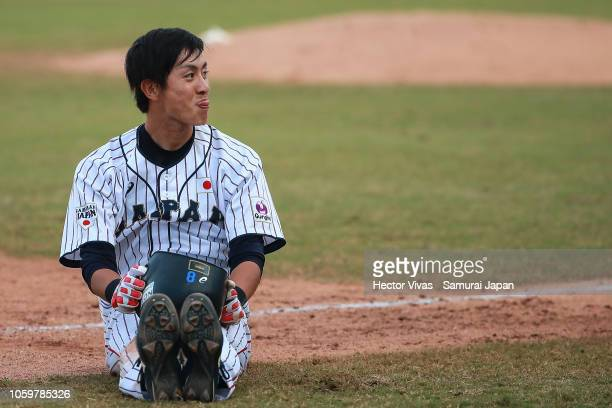 Ukyo Shuto of Japan reacts in the 4th inning during the WBSC U23 World Cup Super Round between Japan and Venezuela at Edgar Renteria Baseball Stadium...