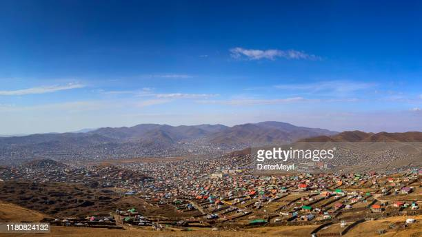 ulaanbaatar downtown with yurts in front of the city - yurt stock pictures, royalty-free photos & images