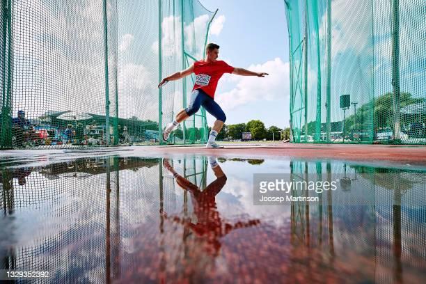 Uladzislau Puchko of Belarus competes in the Men's Discus Throw Final during European Athletics U20 Championships Day 4 at Kadriorg Stadium on July...