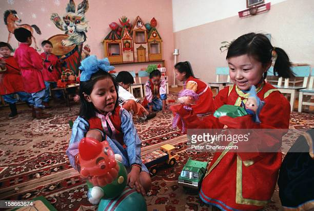 Ulan Bator ULAN BATOR Mongolia Children play at a model staterun Kindergarten