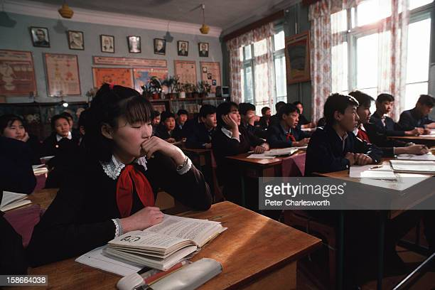 Ulan Bator ULAN BATOR Mongolia Students in a class in a model state school in the Mongolian Capital Ulan Bator