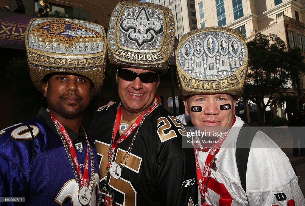 Uland Price, Rion Loisel, Mark Castanon pose for a photo prior to Super Bowl XLVII on February 1, 2013 in New Orleans, Louisiana.