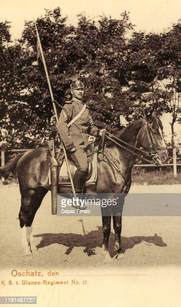 Ulanen-Regiment Kaiser Franz Josef von …sterreich, Konig von Ungarn Nr. 17, Military use of horses Landkreis Nordsachsen, Oschatz, Reiter des Ulanen,...