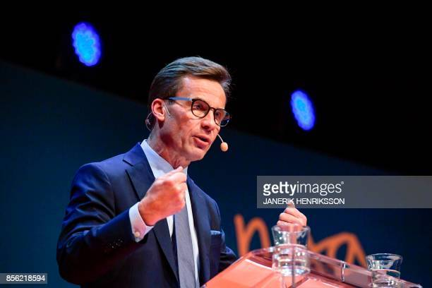Ulf Kristersson gives a speach after his election as the new leader of the Swedish liberalconservative Moderate Party during a party meeting in...