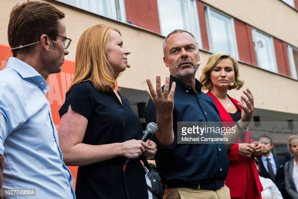 Ulf Kristersson, leader of the Moderate party, Annie Loof, leader of the Center party, Jan Bjorklund, leader of the Liberal party, and Ebba Busch...
