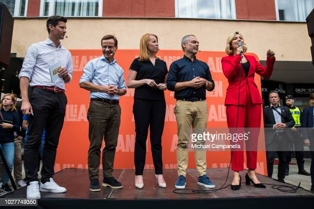 Ulf Kristersson leader of the Moderate party Annie Loof leader of the Center party Jan Bjorklund leader of the Liberal party and Ebba Busch Thor...