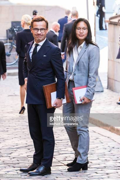 Ulf Kristersson, leader of the Moderate party, attends a church service at the Stockholm Cathedral in connection with the opening of the Swedish...