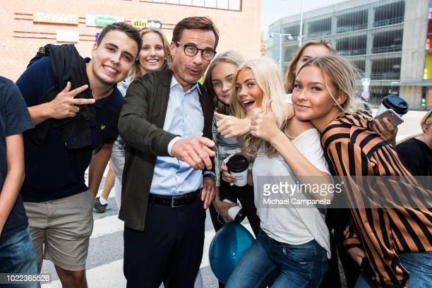 Ulf Kristersson leader of the Swedish Moderate party campaigns at the Skickla shopping center ahead of the Swedish general election on August 24 2018...