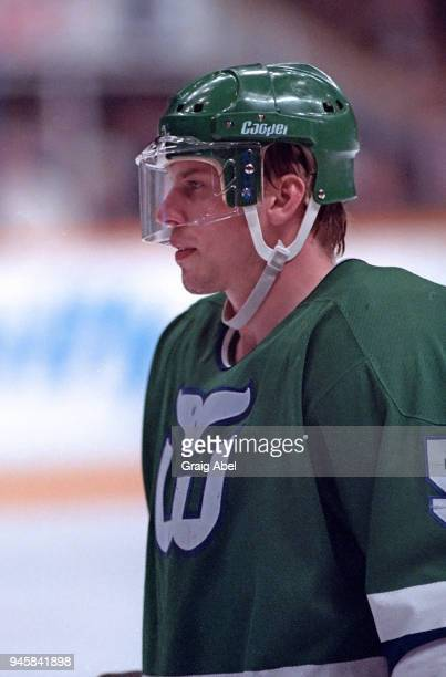 Ulf Samuelson of the Hartford Whalers skates against the Toronto Maple Leafs during NHL game action on January 16 1989 at Maple Leaf Gardens in...