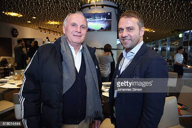 Uli Hoeness and Hansi Flick attend the Club of former national players meeting during the international friendly between Germany and Italy at Allianz...