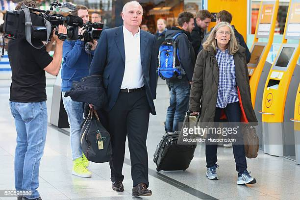 Uli Hoeness arrives with his wife Susanne Hoeness and the team at Munich International Airport FranzJosefStrauss to depart for the UEFA Champions...